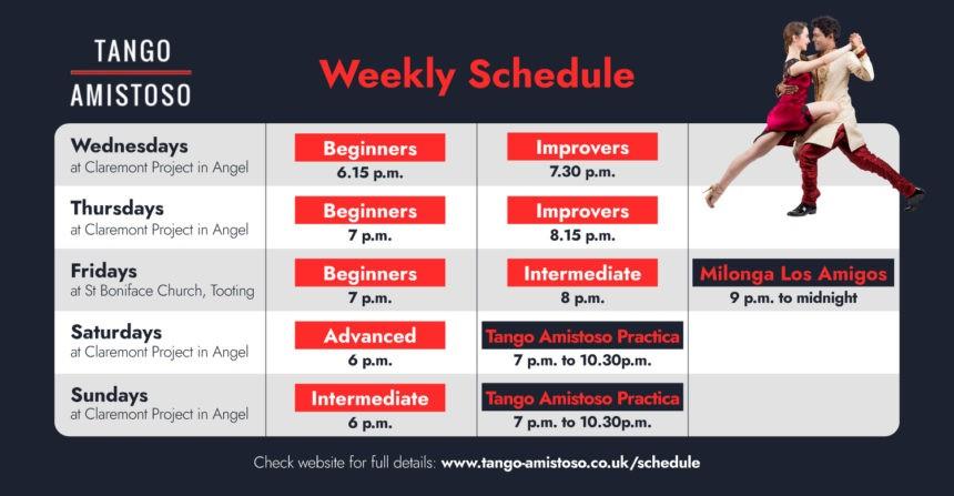 Weekly Friday Milonga and Saturday Practica